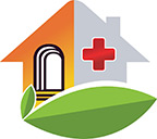 small logo of building with red cross symbol