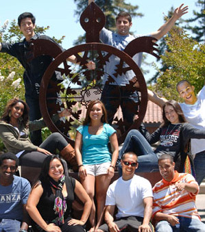 Students around turtle sculpture