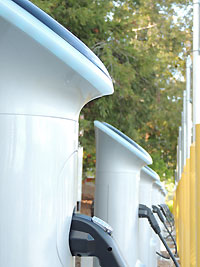Row of electric vehicle chargers
