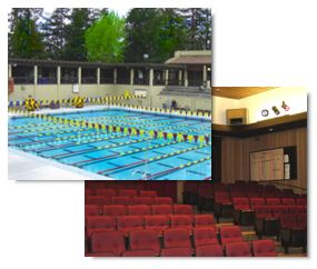 Composite image - pool and classroom