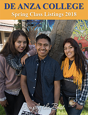 Spring 2018 schedule cover - 3 students in front of tree