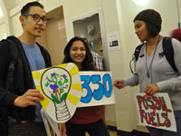 3 students with 350 signs