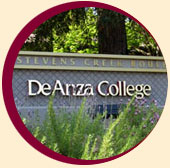 De Anza College sign with plant landscaping