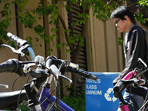Bicycles and recycling bins on De Anza campus